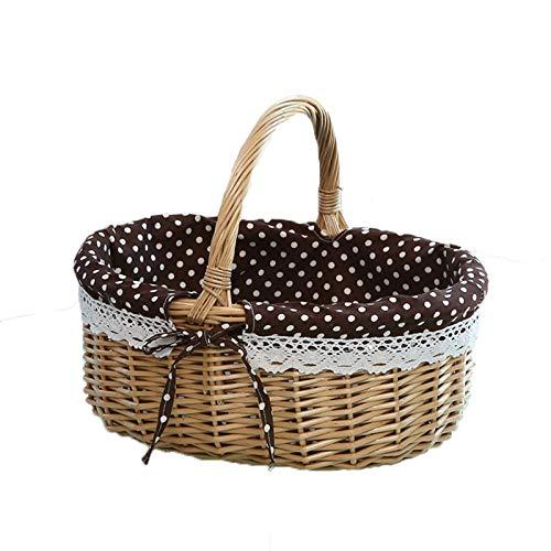 Cesta de picnic tejida a mano cesta de almacenamiento de lino oval regalo ratán cesta de almacenamiento bolsas de equipaje tejido bolsa de almacenamiento C-S