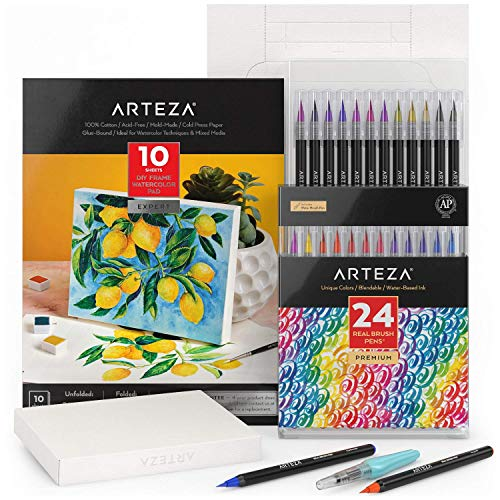 Arteza Watercolor Painting Art Set, Real Brush Pens 24 and Foldable Canvas Paper Bundle, Art Supplies for Kids and Adults