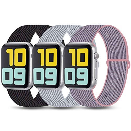 3 Pack Kompatibel mit Apple Watch Armband 38mm 42mm 40mm 44mm, Nylon Ersatzband Einstellbares Leichtes Atmungsaktives für die iWatch Serie 5 4 3 2 1 (01 Black Sand/Seashell/Pink Sand, 38mm/40mm)