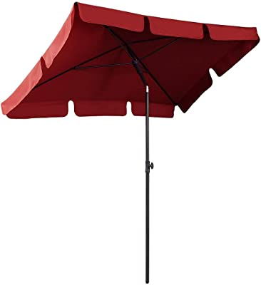 AMMSUN 7ft x 4.6ft Rectangle Outdoor Patio Umbrella Aluminum Tilt Adjustable Garden Parasol UV Protection Sun Shade Outdoor Canopy Red
