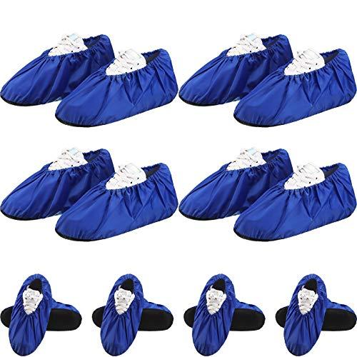 8 Paia Copriscarpe Antiscivolo Riutilizzabili Copriscarpe Impermeabili per Protezione Domestica del Pavimento della Moquette Lavabile in Lavatrice (Blu Reale)