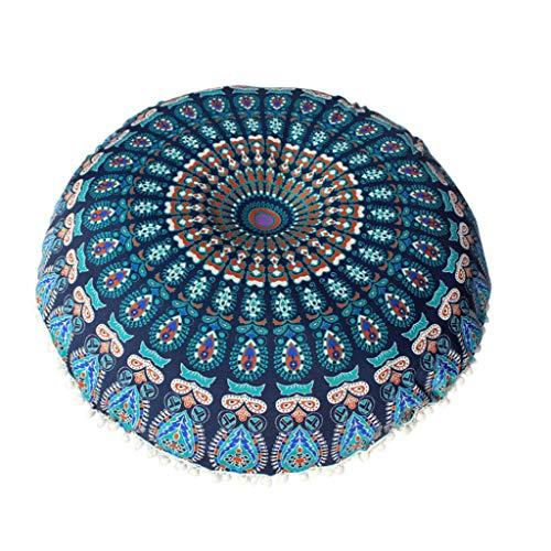 qingqingR 43 / 80cm Funda de cojín de Almohada de Suelo Bohemia India Redonda Funda Mandala Puf Retro