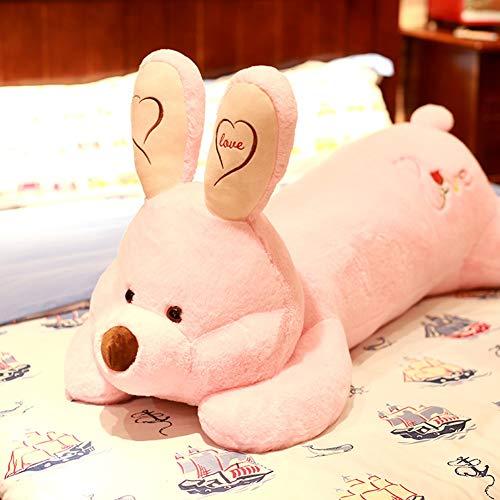 47-B - Peluche a forma di coniglio, lavabile per adulti, cuscino da abbracciare, in cotone imbottito per il corpo, regalo di compleanno di Natale (colore : rosa, dimensioni: 70 cm)