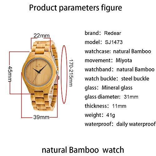 竹製ですが腕時針、何か、日本の動き、30m防水、自然に近い純粋な天然竹、ハイエンドの快適さ(メンズサイズ)