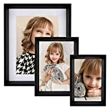 Ohana Avenue 8x10 Picture Frame with Matte, Black, Made of Composite Wood High Definition Glass, for Tabletop Display & Wall Mounting, Black, 4x6 and 5x7 Photo Frame Set Included