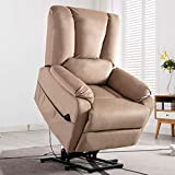Bonzy Home Electric Recliner Chair - Velvet Fabric Power Lift Chair with Remote Control, Electric Reclining Chair Side Pocket- Overstuffed Cozy Bedroom & Living Room Reclining Sofa for Elderly (Mocha)
