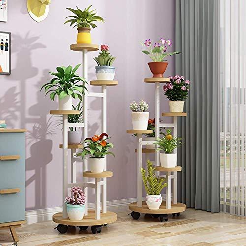 Wghz Soporte de Flores Rueda móvil Soporte de Plantas de Madera Maciza de múltiples Capas Estante de exhibición de Plantas multifunción Estante de Almacenamiento Estante de exhibición de Flores S