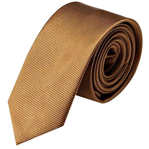 GASSANI Krawatte 8cm Breite gestreift | Hellbraune Rips Herrenkrawatte zum Sakko | Schlips Binder einfarbig Braun mit feinen Streifen