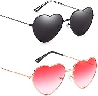 Vientiane - Gafas de Sol en Forma de Corazón, Gafas Con Forma de Corazón Para Los Accesorios De Disfraces Hippie