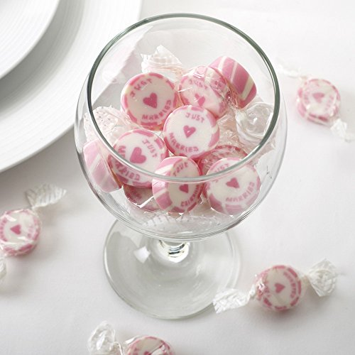 Premium Weddings Hochzeitsbonbons 'Just Married' pink 50 Stück - Gastgeschenke Hochzeit Bonboniere Candy Bar Give Aways - Rock Sweets Wedding Strawberry Flavour - Bonbons Hochzeit Erdbeer-Geschmack
