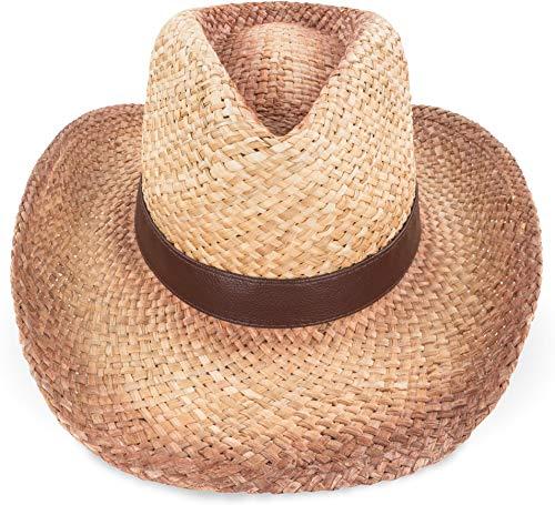normani Cooler Strohhut Bogarthut Sonnenhut Stroh Hut Lederband Farbe Cow-Boy Größe 59-61