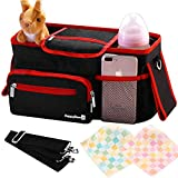 Universal Stroller Organizer Bag with Deep Cup Holders - Large Stroller Caddy with Carrying Strap &...