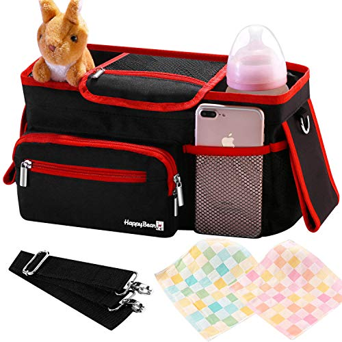 Universal Stroller Organizer Bag with Deep Cup Holders - Large Stroller Caddy with Carrying Strap & Zip Pouches - Best Stroller Storage Accessories for Double & Umbrella Stroller - Bonus Face Towels