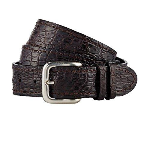 GUT INSTINKT - Handgefertigter Italienischer Luxus Echt-Krokodilleder Gürtel - YOLNGU (Taupe 90cm)