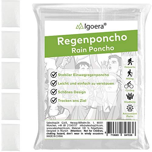 Igoera Regenponcho transparent, 5er-Pack Regencape mit Kapuze für Festival, Konzert, Wandern, Radfahren, Camping, Outdoor, Einweg Poncho gegen Regen (Transparent) (Transparent)