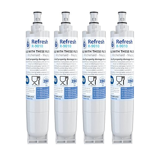 Refresh Replacement Refrigerator Water Filter Compatible with Kenmore 46-9010, 469010, 9010, 46-9085, 9085, AQUACREST AQF-4396508, Aquafresh WF285 and IcePure RFC0500A (4 Pack)