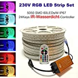 15 Meter H+H Leipzig 230V 5050 SMD 60LEDs/M IP67 Mehrfarbig RGB LED Strip Streifen Lichtband...