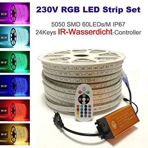 15 Meter H+H Leipzig 230V 5050 SMD 60LEDs/M IP67 Mehrfarbig RGB LED Strip Streifen Lichtband Lichtleiste Lichtschlauch mit Infrarot (IR) IP65 Netzteil Controller Fernbedienung
