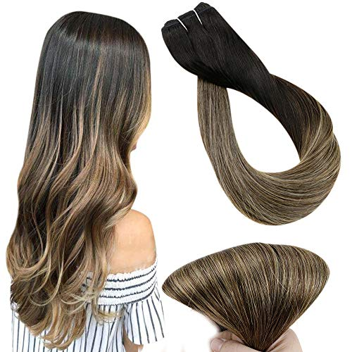 Easyouth Mensch Haar Weft Sew in 16zoll Farbe 1B/6/27 Off Black Fading to Medium Brown Mit Honigblond Hervorgehoben 80g Ombre Balayage Haar Extensions