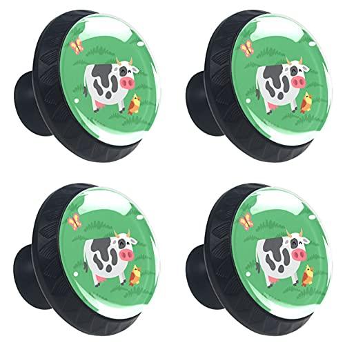 ATOMO 4pcs Vaca Verde Cristal Cristal 30mm Cajón Perilla Tirón Manija Usd para Gabinete, Cajón