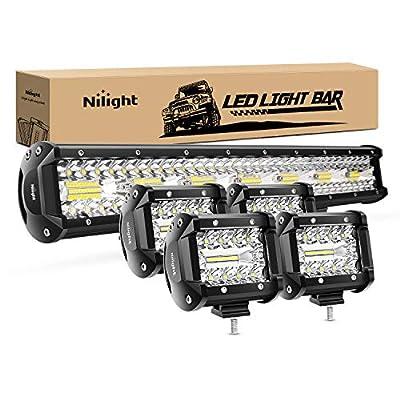 Nilight 20Inch 420W Triple Row Flood Spot Combo Led Light Bar 4PCS 4Inch 60W Led Pods Driving Boat Lights Led Off Road Trucks Lights, 2 Years Warranty (ZH415)