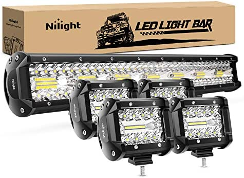 Nilight 20 Inch 420W Triple Row Flood Spot Combo Led Light Bar 4PCS 4Inch 60W LED Pods Driving product image