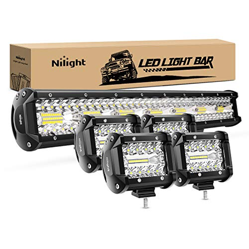 Nilight 20 Inch 420W Triple Row Flood Spot Combo Led Light Bar 4PCS 4Inch 60W LED Pods Driving Boat Lights Led Off Road Trucks Lights, 2 Years Warranty (ZH415)