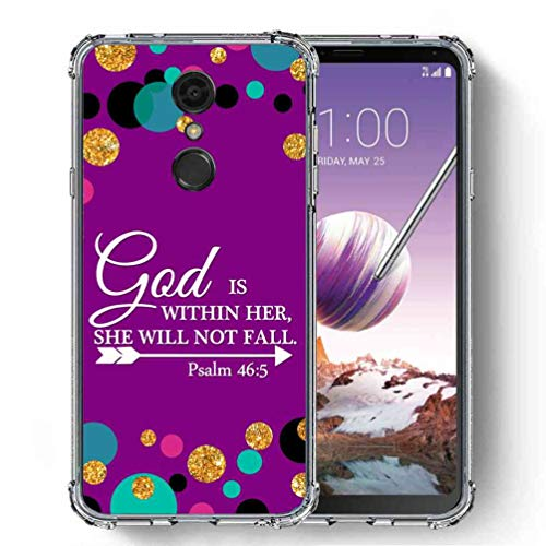für LG Stylo 4 Hülle, LG Q Stylus Case, SuperbBeast Ultra [Slim Dünn] TPU Silikon Schutzhülle Cover Vector Floral Blumen Polka Dots [Glitzer Muster], God is Within Her, She Will Not Fall/Polka Dots
