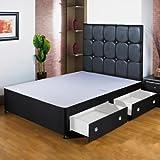 Hf4You 152,4cm Kingsize negro cama con canapé base–4cajones–sin...