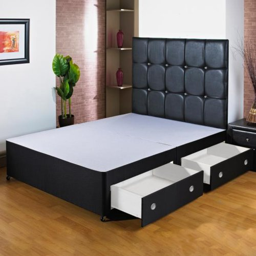 Hf4You 152,4cm Kingsize negro cama con canapé base–4cajones–sin cabecero de cama