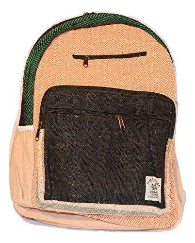 HIMALAYAN Hanf Rucksack, Hanf Tagesrucksack/Daypack für Schule, Reise, Freizeit, Outdoor, Natur – mit Laptopfach, handgemacht in Nepal – model 116.2