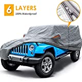 Big Ant Car Cover for Wrangler CJ,YJ, TJ & JK 4 Door All Weather Protection Waterproof SUV Cover Custom Fit for 1987-2021 Wrangler SUV with Driver Door Zipper,Gray
