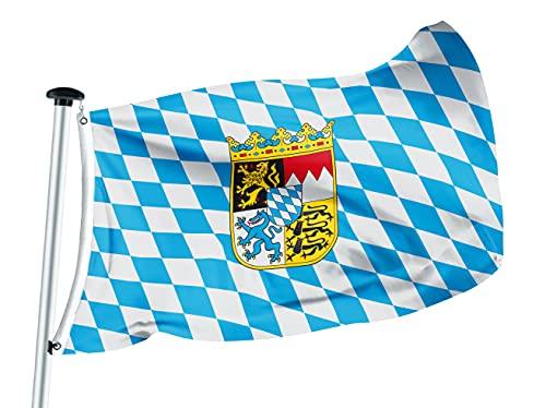FLAGLY Premium Fahnen & Flaggen 100x150cm -115g/m² Stoffgewicht - gedruckt, Robustes und witterungsbeständiges Glanzpolyester mit Ösen, Bundesländerfahnen (100 x 150 cm, Bayern-Raute mW)