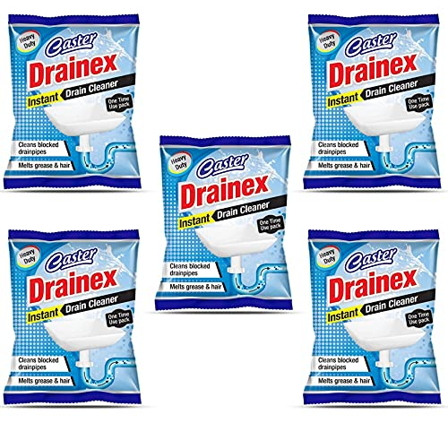 Caster Drainex Block Remover Drain Cleaner, Drainage Cleaner– Wash Basin cleaning powder All Pipe Safe Cleaner Drainex Powder Clear Clogged Sinks,& Pipes-50gm-Pack of 5