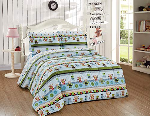 Kids Collection Twin Size Comforter And Sheet Set Robot Android Fantasy Machine Technology Cartoon Multi-Color for Kids New # Robot