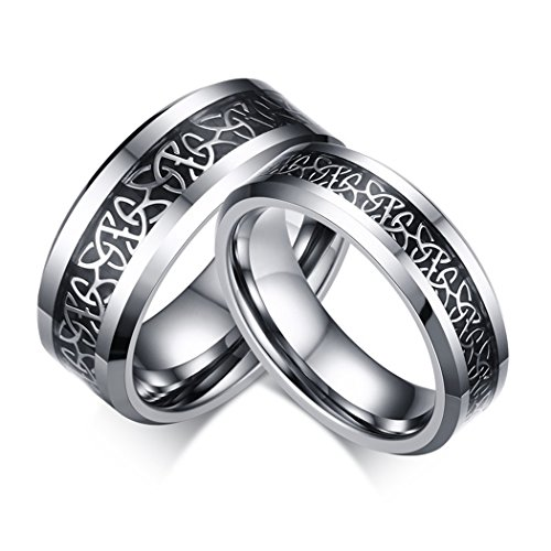 Sunrise100 6mm and 8mm Lovers Tungsten Ring Engagement Wedding Band Ring with White-Plated Celtic Knot Triquetra Over Black Carbon Fiber Inlay for Couples