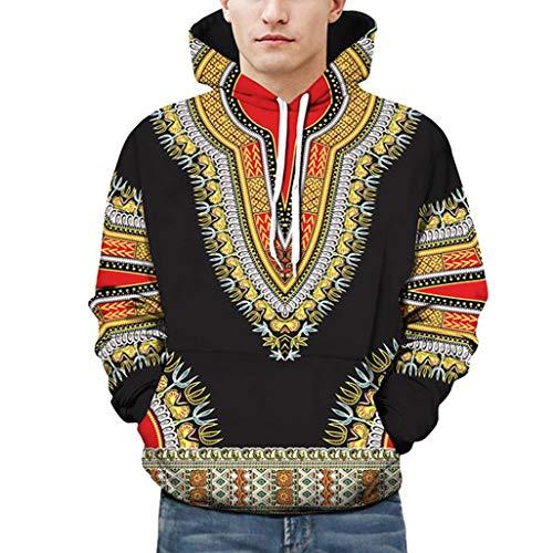 Sweat-Shirt à Capuche Homme,Covermason Homme Unisexe Sweater 3D Africain Imprimer Sweat à Capuche à Manches Longues Automne Hiver Tops Veste Manteau Outwear (L/XL, Noir)