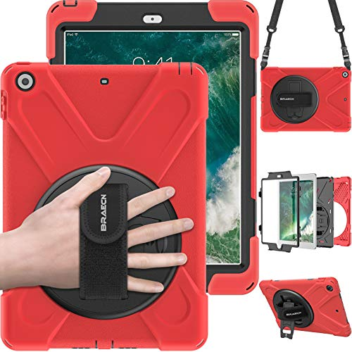 BRAECN ipad 6th Generation case 2018,Heavy Duty Kickstand Shockproof Protective iPad 9.7 Kids Case Cover with Hand Strap/Shoulder Strap for ipad 5th Generation case 2017 A1822/A1823/A1893/A1954-Red