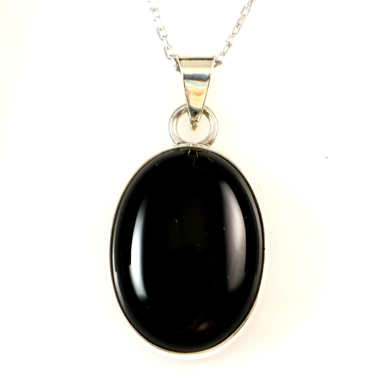Black Onyx Gemstone Handmade 925 Sterling Silver Plated CROSS Pendant \\ Necklace Jewelry USA 694