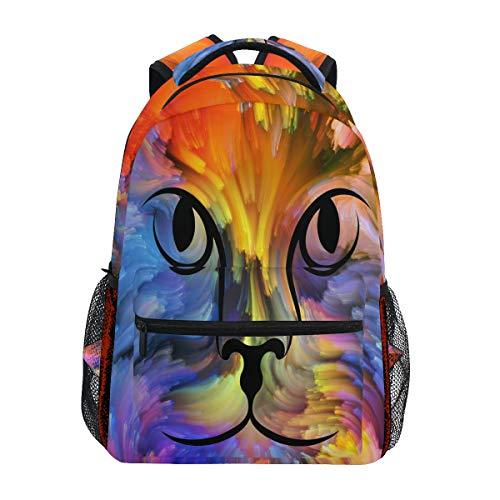 QMIN Sac à dos coloré arc-en-ciel animal, animal, chat, école, voyage, université, sac à dos pour ordinateur portable, randonnée, camping, sac à bandoulière pour garçons, filles, femmes, hommes