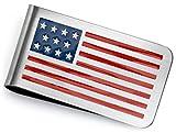 Bling Jewelry Personalisierte Patriotischen USA Amerikanische Flagge Rot Weiß Blaue Sterne Streifen Geld Clip Card Edelstahl Graviert