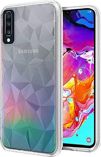 Morando Cover Samsung Galaxy A50, [Pollyanna Prism Case] Custodia Posteriore Protettiva Antiurto Antiscivolo copriangoli, Gomma Gel TPU Trasparente con prismi 3D Che creano Un Originale Gioco di Luce