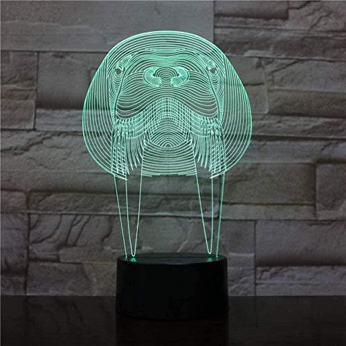 Lámpara de luz de 7 colores con diseño de animales sakuhusb para habitaciones dormitorio acrílico regalo infantil cama de cumpleaños 3D luz nocturna de