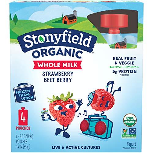 Stonyfield Organic Kids Strawberry Beet Berry Whole Milk Yogurt Pouches, 3.5 oz., 4 Ct – Real...