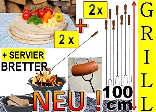 BTV - Picknicksets in Buche Natur - Spiess Metall, Größe 100 cm