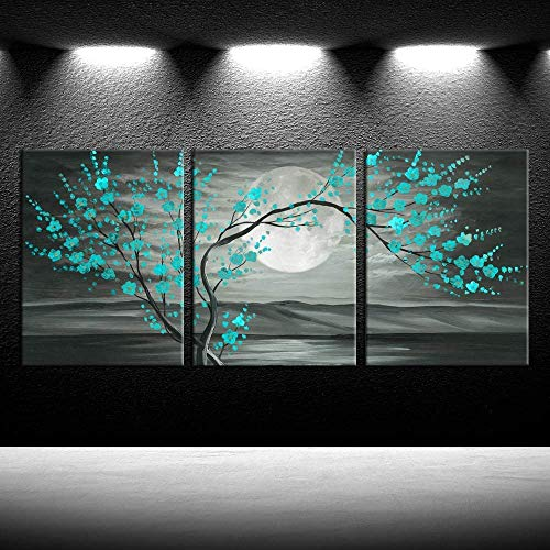iKNOW FOTO 3pcs Grey and Teal Floral Canvas Prints Framed Plum Blossom Tree Oil Painting Printed on Canvas Gallery Wrapped Full Moon Flower Pictures Living Room Traditional Paintings 12x16x3pcs
