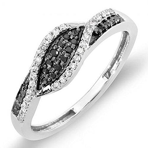 0,25Carat (quilate) 18K oro redondo–Anillo de cóctel mano derecha 1/4CT de diamantes en blanco y negro