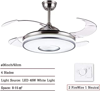 CDDQ 92cm Ventilador de Techo con lámpara,Ultrasilencioso,con 4 Aspas Transparentes,Plata,48W