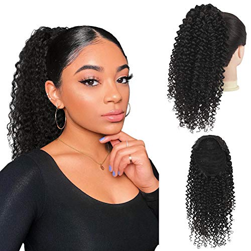 Drawstring Ponytail Afro Kinky Curly Ponytail for Black Women, PEACOCO 14 Inch Afro Puff Ponytail Extensions Jerry Curls Synthetic Hair with 2 Combs and Elastic Net (2#)