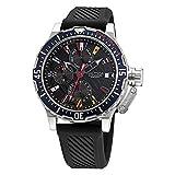 Nautica Correa de silicona de cuarzo de acero inoxidable para hombre, negro, 22 reloj casual (Modelo: NAPGLF009)